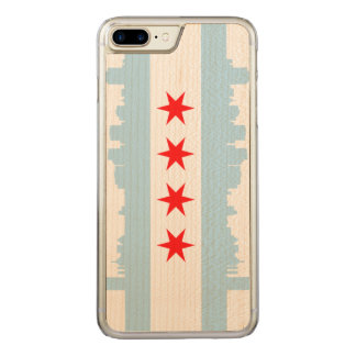 Flag of Chicago Skyline Carved iPhone 7 Plus Case