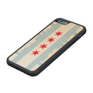Flag of Chicago Skyline Carved® Maple iPhone 6 Bumper Case