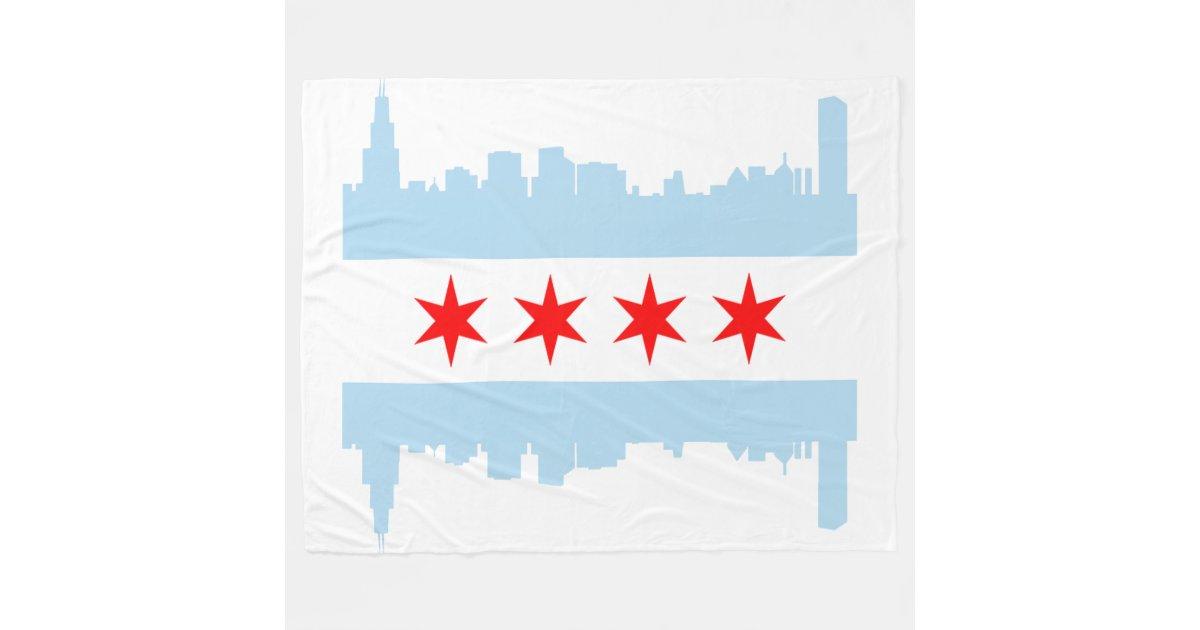 Flag Of Chicago Skyline Fleece Blanket Zazzle Com