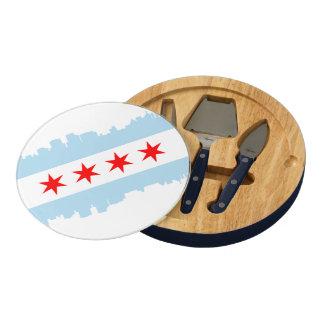 Flag of Chicago Skyline Round Cheese Board