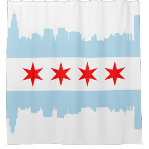 Flag Of Chicago Skyline Shower Curtain