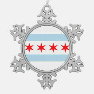 flag of chicago snowflake pewter christmas ornament - Chicago Christmas Ornaments