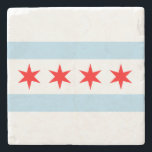 "Flag of Chicago Stone Coaster<br><div class=""desc"">Flag of Chicago Stone Coaster</div>"