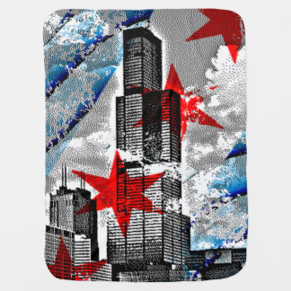 Flag of Chicago Willis Sears Tower Receiving Blanket