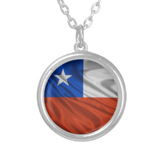 Flag of Chile Round Pendant Necklace