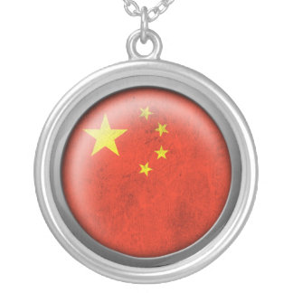 Flag of China Disc Silver Plated Necklace