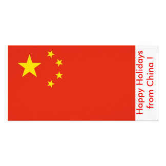 Flag of China Happy Holidays from China Personalized Photo Card