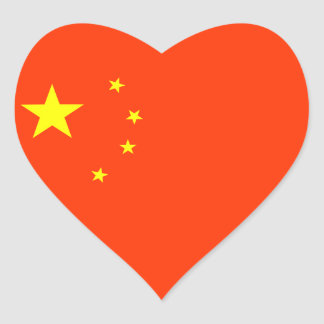 Flag of China Heart Sticker