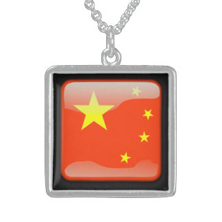Flag of China Square Pendant Necklace