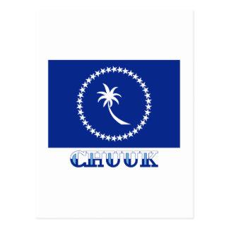 Flag of Chuuk, with name Postcard
