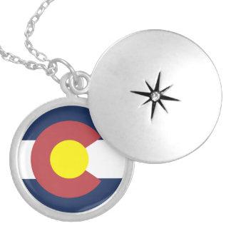 Flag of Colorado Round Locket Necklace