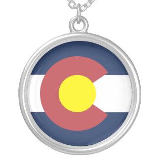 Flag of Colorado Round Pendant Necklace