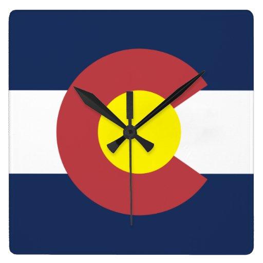 Flag of Colorado Square Wall Clocks