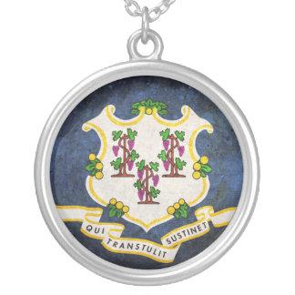 Flag of Connecticut Round Pendant Necklace