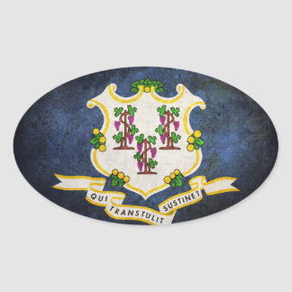 Flag of Connecticut Oval Sticker
