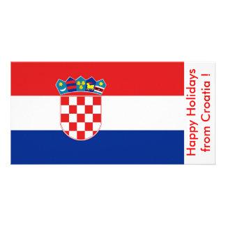 Flag of Croatia Happy Holidays from Croatia Photo Greeting Card