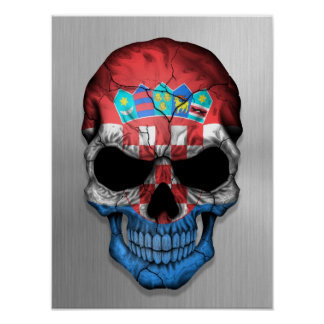 Flag of Croatia on a Steel Skull Graphic Poster