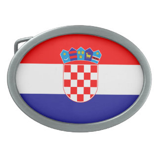 Flag of Croatia Oval Belt Buckle