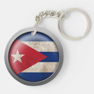 Flag of Cuba Disc Acrylic Key Chain