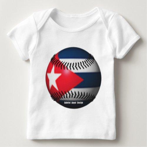 Flag of Cuba on a Baseball Baby T_Shirt