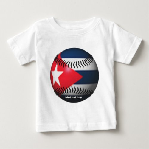 Flag of Cuba on a Baseball Baby T_Shirt