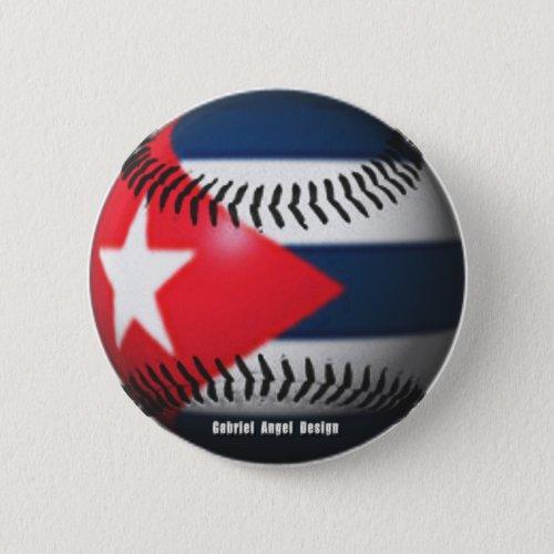 Flag of Cuba on a Baseball Button