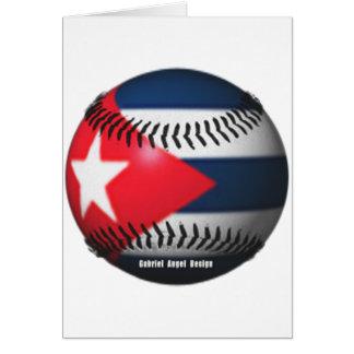 Flag of Cuba on a Baseball Greeting Card