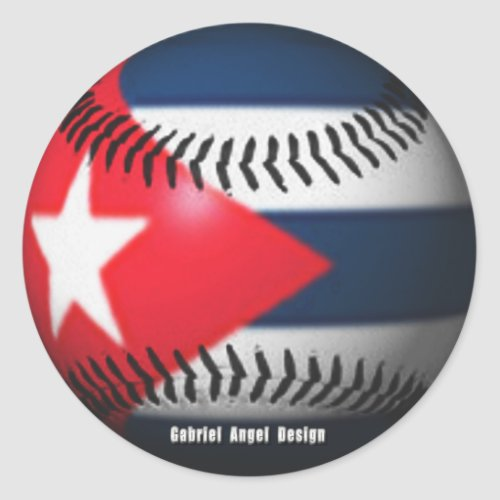 Flag of Cuba on a Baseball Classic Round Sticker