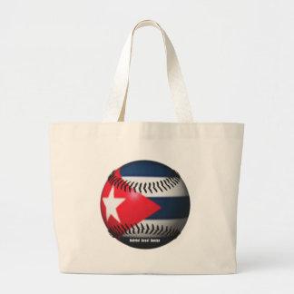 Flag of Cuba on a Baseball Large Tote Bag