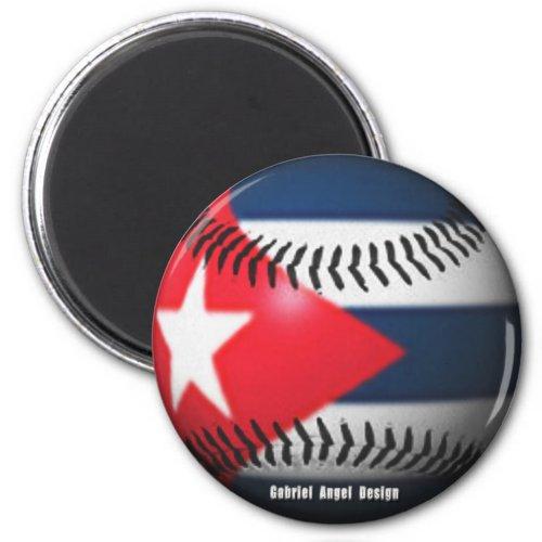 Flag of Cuba on a Baseball Magnet