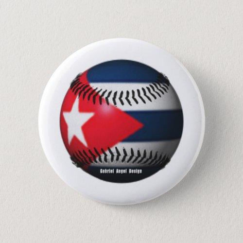 Flag of Cuba on a Baseball Pinback Button