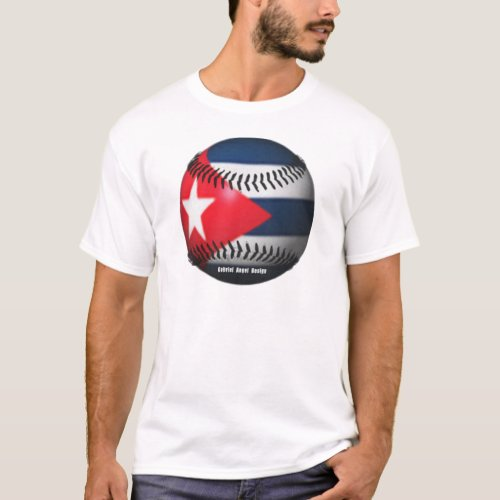 Flag of Cuba on a Baseball T_Shirt