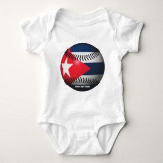 Flag of Cuba on a Baseball Tshirts