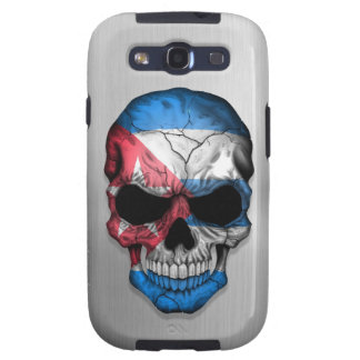 Flag of Cuba on a Steel Skull Graphic Galaxy S3 Covers