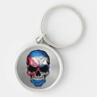 Flag of Cuba on a Steel Skull Graphic Key Chain