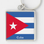 Flag of Cuba Silver-Colored Square Keychain