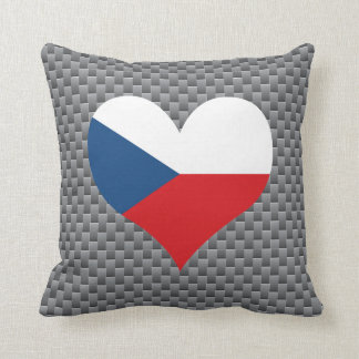 Flag of Czech on metal background Throw Pillow