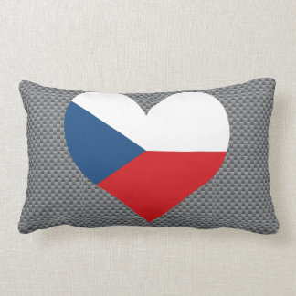 Flag of Czech on metal background Pillow