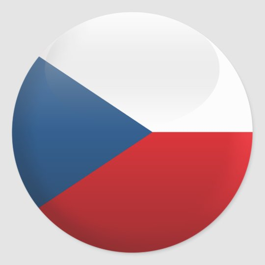Flag of czech republic classic round sticker
