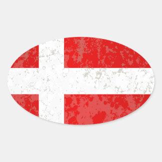 Flag of Denmark Grunge Oval Sticker