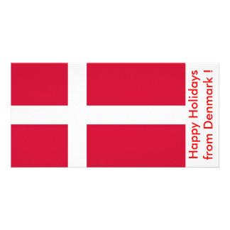 Flag of Denmark, Happy Holidays from Denmark Customized Photo Card