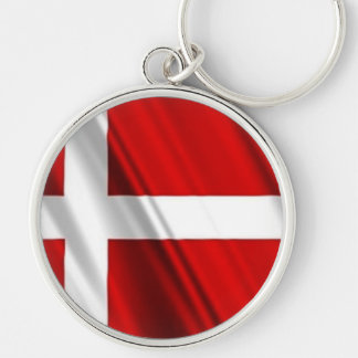 Flag of Denmark Silver-Colored Round Keychain