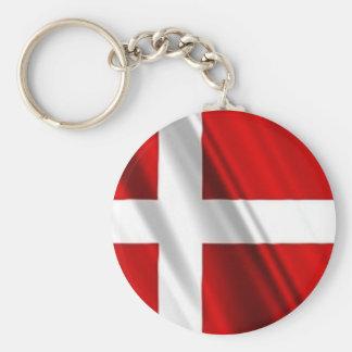 Flag of Denmark Basic Round Button Keychain