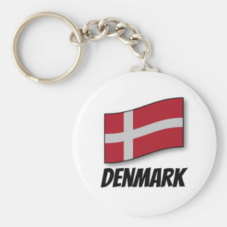 Flag of Denmark, Labeled Basic Round Button Keychain