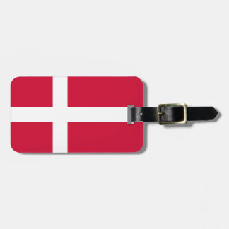 Flag of Denmark Luggage Tag w/ leather strap