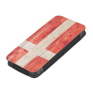 Flag of Denmark on Wood iPhone 5 Pouch