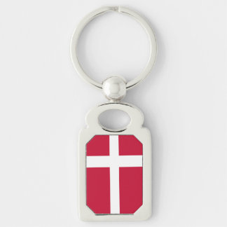 Flag of Denmark Silver-Colored Rectangular Metal Keychain