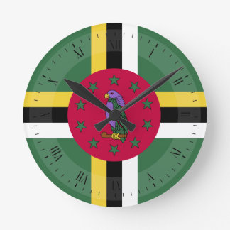 Flag of Dominica Round Clock