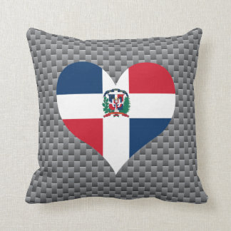 Flag of Dominican on metal background Pillows