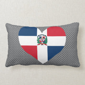 Flag of Dominican on metal background Throw Pillow